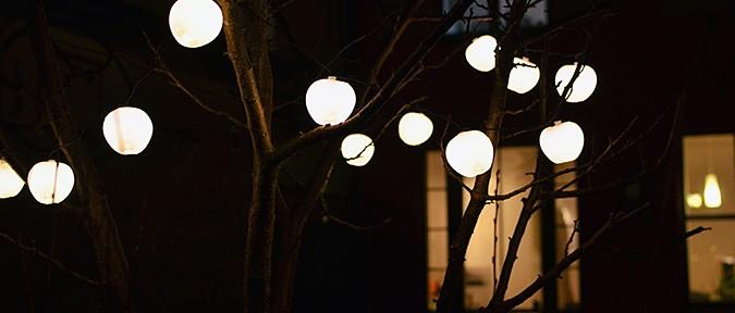 boende jul advent utebelysning julbvelysning äpplen ljusslinga träd