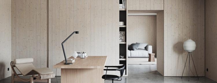 Företaget Norrlands trä tillverkar väggar, tak och golv i massiv furu och gran.
